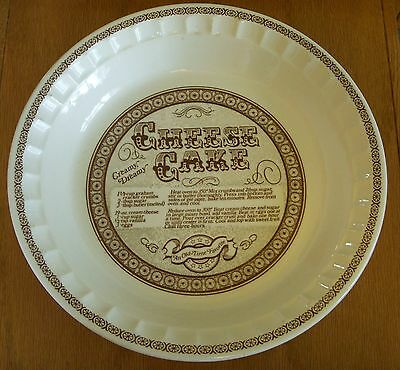 Vtg Jeanette Jeannette Royal China Cheese Cake Pie Recipe Pie Plate made in USA