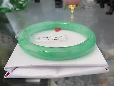 Vintage Translucent Natural Apple Green Jadeite Jade Bangle Bracelet 56.3MM