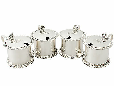Antique Set of Four Sterling Silver Mustard Pots 1900-1940