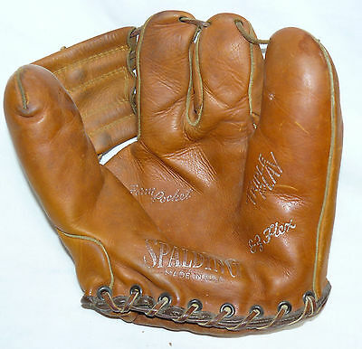 VTG Spalding Triple Play 3 Finger Baseball Glove USA VERY NICE Leather