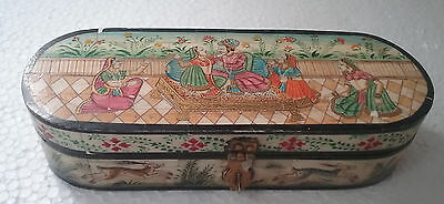 Vintage Wood Hand crafted bone box Unique Fine Hand Painting Collectible Box