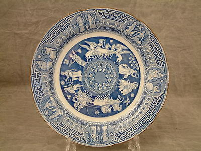 Antique C1810 Herculaneum Blue & White Greek Pattern Pearlware Plate