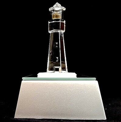 Crystal Glass Lighthouse With Light Box Ornament