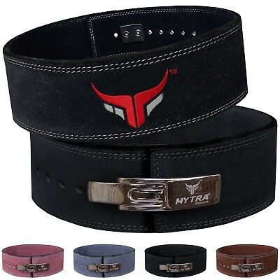 Mytra Fusion 4 inch Leather courted power lifting back support belt weight belt