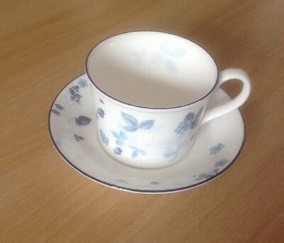 Wedgwood Bone China Strawberry Blue Cup And Saucer