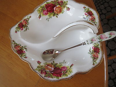 Royal Albert Old Country Roses Leaf Shaped Dish/floral Spoon 1St Quality