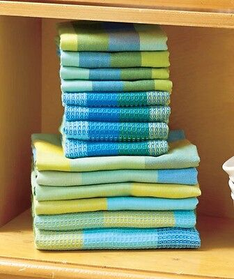 Kitchen Towel Set Blue 14-Pc Woven Dish Cloths Cleaning Colorful Home Decor