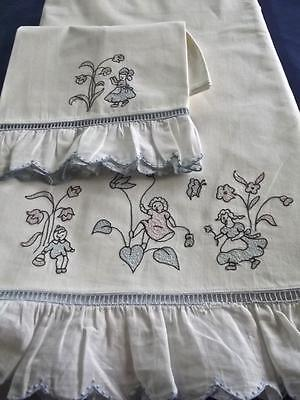Vintage FAB Leron Metis Linen Sheet Pillowcase Madeira Embroidery Tiny Children