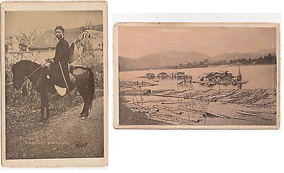 1880s INDOCHINA Annam Cavalier / Horseman & floating village PHOTO 's Vietnam