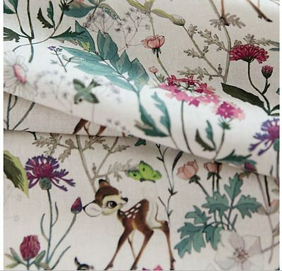 Disney Botanical Bambi Character Cotton Linen Fabric made in Korea by the Yard