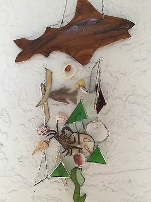 Original STAINED GLASS CARVED Wood FISH SEA SHELLS CRAB COASTAL WIND CHIME