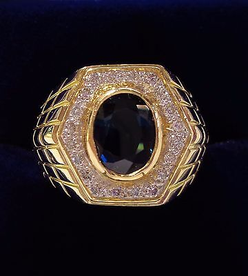 Gents Sapphire and Diamond Signet Ring in 18ct Yellow Gold - Size Q - 12.7grams