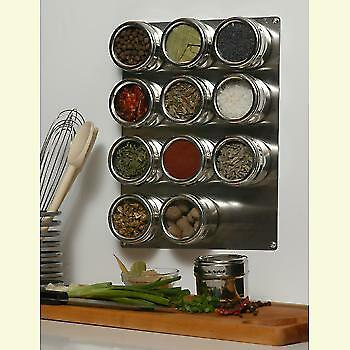 Magnetic wall mounted spice rack 12 jar stainless steel