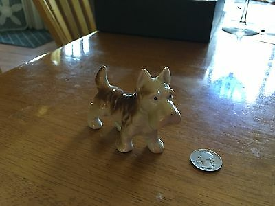 Vintage Scottish Terrier Dog Figurine Brown & White hand painted in Japan