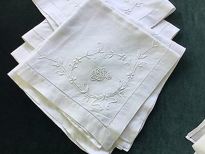"Antique Monogrammed L&R Hand Embroidered White 18"" Napkin Set For 6"