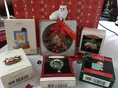 Lot 7 New& VTG Xmas Cat Ornaments 5 Hallmark Aristocats Mischievous Kittens Naps