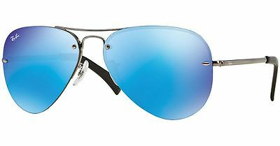 Ray-Ban RB3449 004/55 Gunmetal Frame Blue Mirror 59mm Lens Sunglasses
