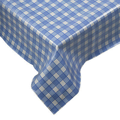 "Gingham Kitchen Tablecloth PVC Garden Barbecue Patio Blue 52"" x 52"" Square Check"