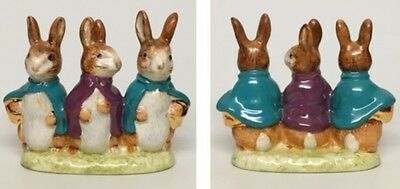 """Teal/Purple Capes-Beswick Beatrix Potter """"Flopsy, Mopsy & Cottontail"""" Figurine"""