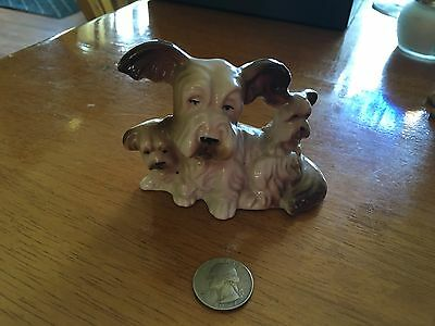 Vintage Yorkshire Terrier Dog Mom with babies figurine made in Japan