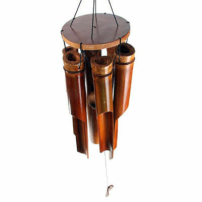Traditional Bamboo Wind Chime Garden Door Home 6 Chimes Clapper Brown New