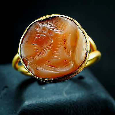 Ancient Medieval Knight Wearing Helmet carnelian Intaglio Solid 22K Gold Ring