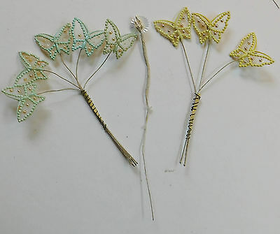 Vintage Pearls Sheer Fabric Aqua Butterflies Hats Millinery Whimsy Picks Parties