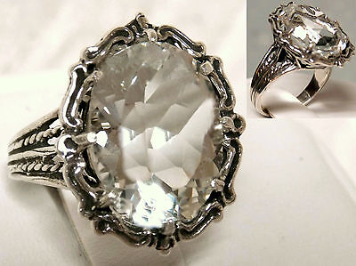12ct white sapphire filigree antique 925 sterling silver ring size 6.5 USA
