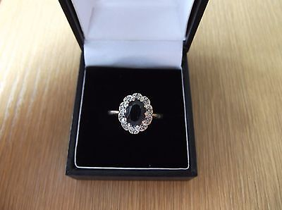 Vintage 9ct Gold Sapphire And Diamond Cluster Ring Size Q
