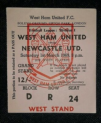 1968/69  Division 1 WEST HAM UTD v NEWCASTLE UNITED   original match  ticket