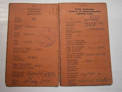 Wwii 1944 Yugoslavia Prisoner Id Card Document Visa Italy France Carte D'identit