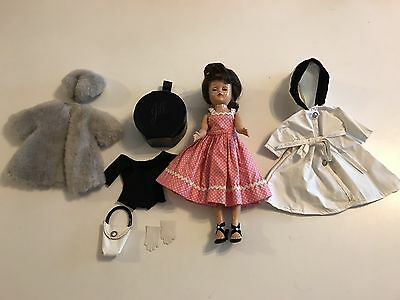 Vintage Vogue Jill Bent Knees Walker Doll W/ 4 Outfits & Accessories