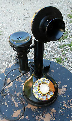 Antique Candlestick Phone Western Electric Black & Brass Rotary Dial Art Deco