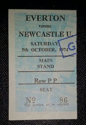 1974/75 Division 1 EVERTON v NEWCASTLE  UNITED    original match ticket