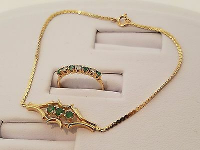 Vintage 14k solid gold emerald and diamonds ring and bracelet set