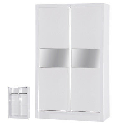 Alpha Gloss 2 Door Sliding Wardrobe Mirrored Bedroom Furniture Units