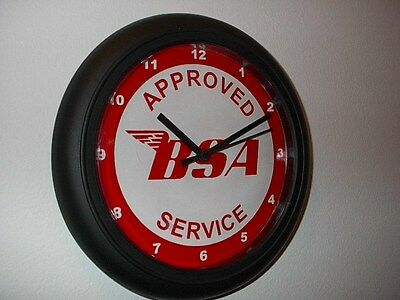 BSA Approved Service Motorcycle Mechanic Garage Wall Clock Man Cave Sign