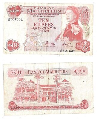 Mauritius 10 Rupees 1967 (F-VF) Condition Banknote P-31c