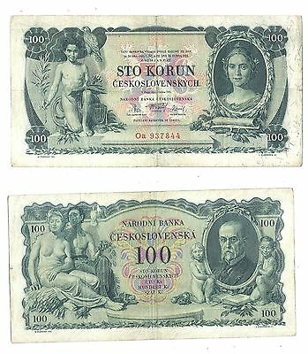 Czechoslovakia 100 Korun 1931 in (VF) Condition Banknote P-23a NOT PERFORATED