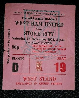 1972/73  Division 1 WEST HAM UTD v STOKE CITY    original match  ticket