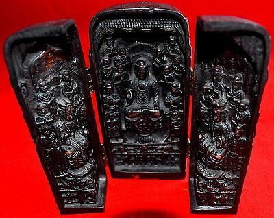 Vtg Travel Religious Altar Shrine - 3 Panels Black  Color- Bottom Signed .