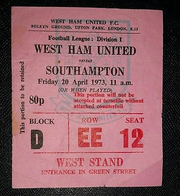 1972/73  Division 1 WEST HAM UTD v SOUTHAMPTON   original match  ticket