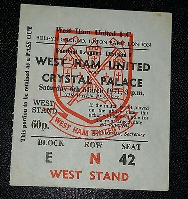 1970/71  Division 1 WEST HAM UTD v CRYSTAL PALACE    original match  ticket