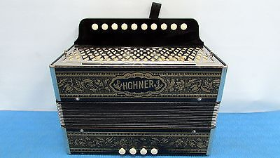 Vintage Accordion Hohner Diatonic Pokerwork 1140 Base Button Key C Germany