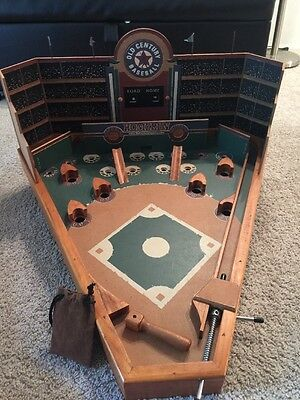 Old Century Table Top Pinball Game Wooden Baseball 23 x 25