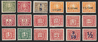 Canada Revenues EZ, 18 Different Excise Tax Stamps, Mint, NH.
