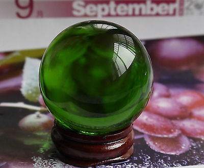 HOT 40MM +Stand Natural Green Obsidian Sphere Large Crystal Ball Healing Stone