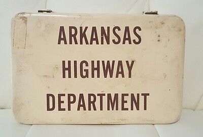 Vintage Arkansas Highway Department metal box First Aid Kit