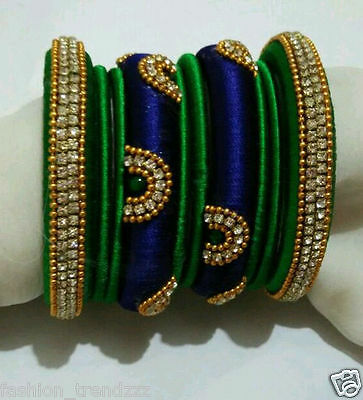 Indian ethnic blue and green silk thread handmade jewelry decorated bangle set