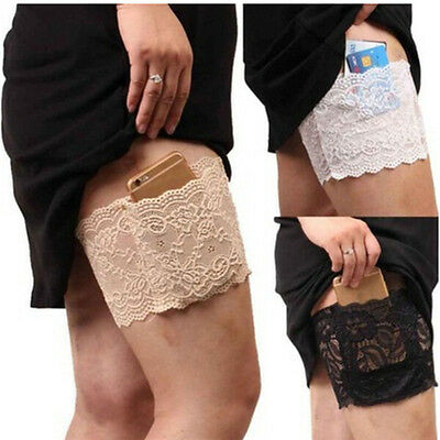 Women Lace Non Slip Elastic Socks Anti-Chafing Thigh Bands Leg Warmers ZO